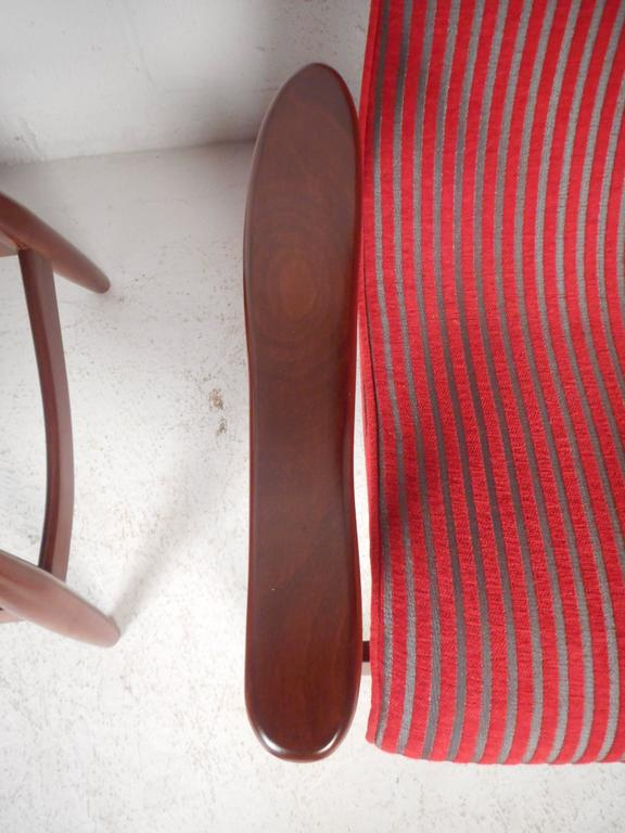 Pair of Mid-Century Modern High Back Walnut Lounge Chairs For Sale 1