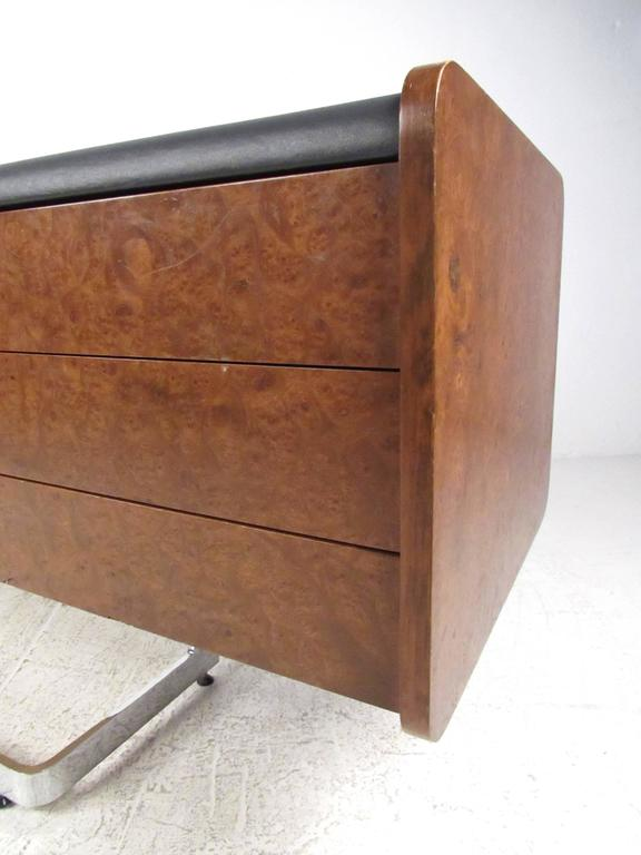 Mid-Century Modern Ste. Marie & Laurent Burl Wood and Chrome Credenza For Sale