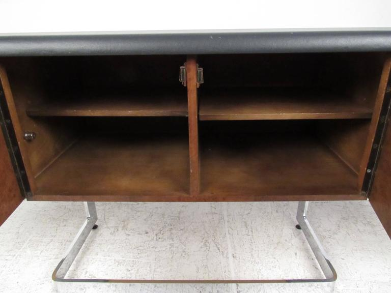 Canadian Ste. Marie & Laurent Burl Wood and Chrome Credenza For Sale