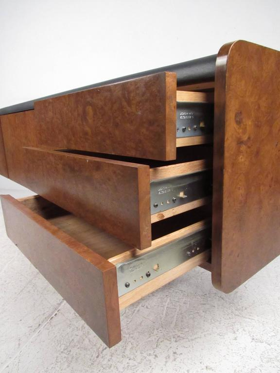 Ste. Marie & Laurent Burl Wood and Chrome Credenza In Good Condition For Sale In Brooklyn, NY