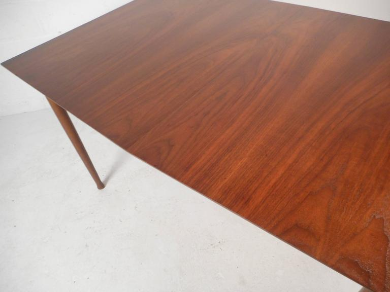Mid-Century Modern Walnut Dining Table with Rosewood Accents For Sale 1