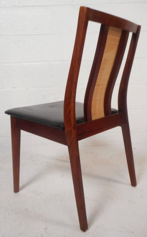 Faux Leather Set of Six Mid-Century Modern Dining Chairs in the Style of Edward Wormley For Sale