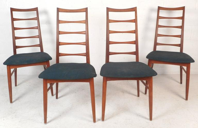 Set Of Four Mid Century Modern Ladder Back Dining Chairs By Niels Kofoed 2