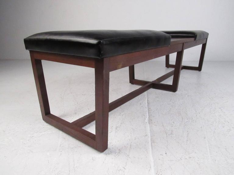Mid-Century Modern Mid-Century Walnut Two-Seat Platform Bench For Sale