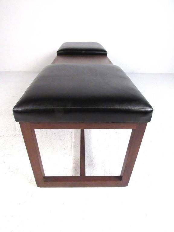American Mid-Century Walnut Two-Seat Platform Bench For Sale