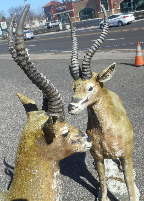 Country  Pair Bronze Impala Garden Estate Statues For Sale