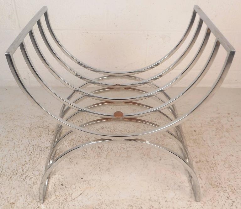 Upholstery Unique Mid-Century Modern Chrome Stool or Ottoman For Sale