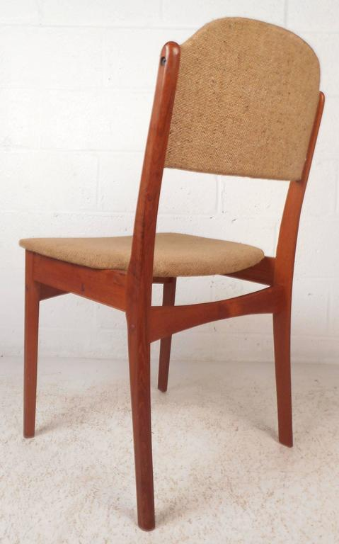 Upholstery Set of Six Mid-Century Modern Danish Teak Dining Chairs For Sale