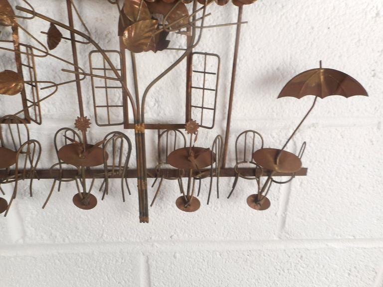 Late 20th Century Mid-Century Modern C. Jere Style Bistro Copper Wall Art For Sale