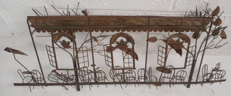 Mid-Century Modern C. Jere Style Bistro Copper Wall Art In Good Condition For Sale In Brooklyn, NY