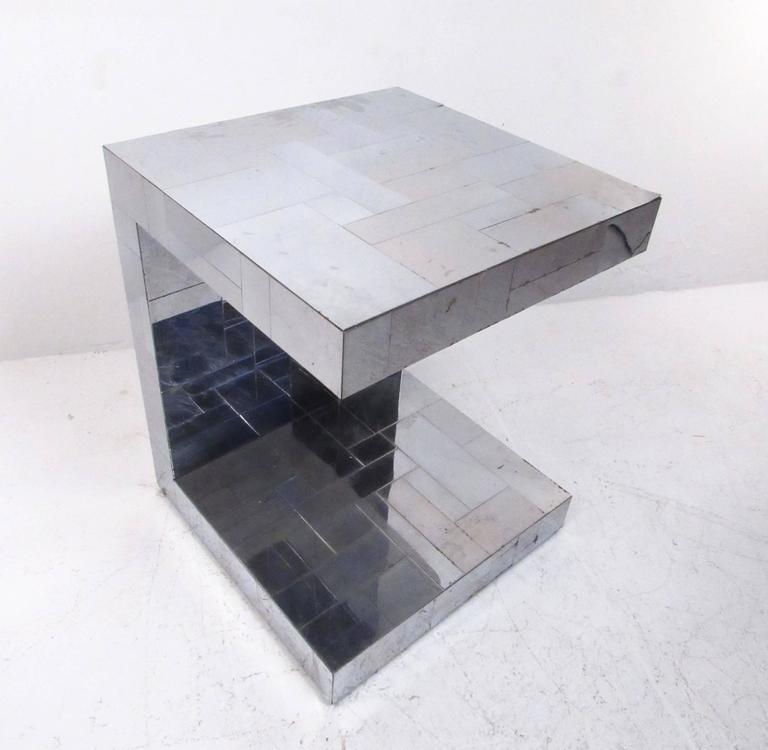 Mid-Century Modern Paul Evans Patchwork Console Table and Wall Mirror, Signed For Sale