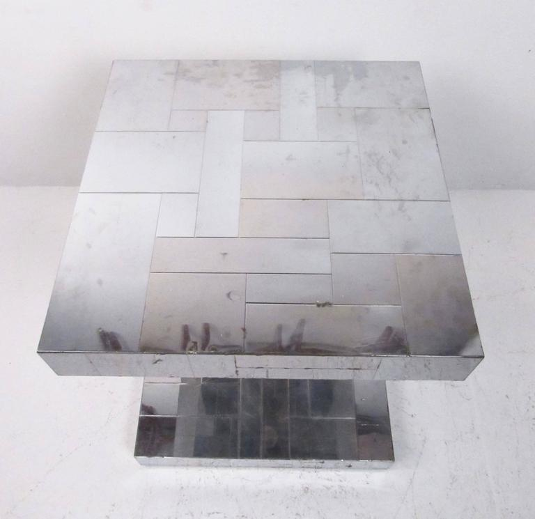Mid-20th Century Paul Evans Patchwork Console Table and Wall Mirror, Signed For Sale