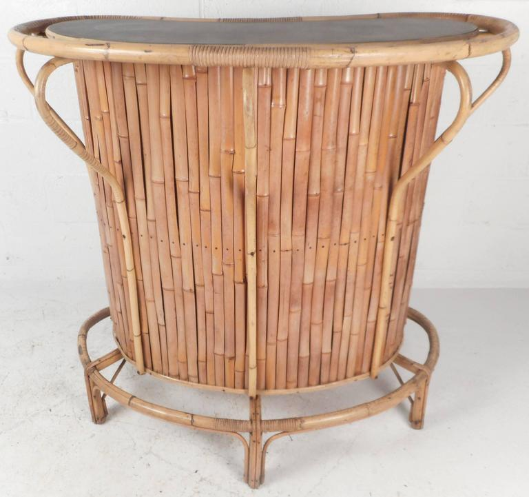 Mid Century Modern Bamboo Tiki Bar And Stools For Sale At