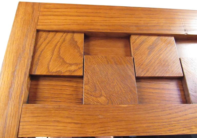 Lane Altavista Brutalist series mirror in oak. Please confirm item location (NY or NJ) with dealer.