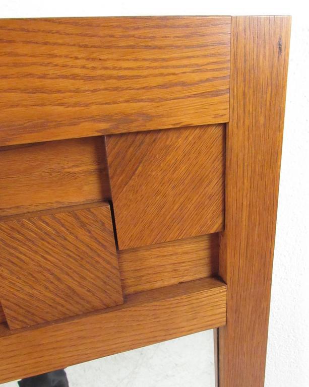 American Lane Brutalist Style Oak Frame Mirror For Sale