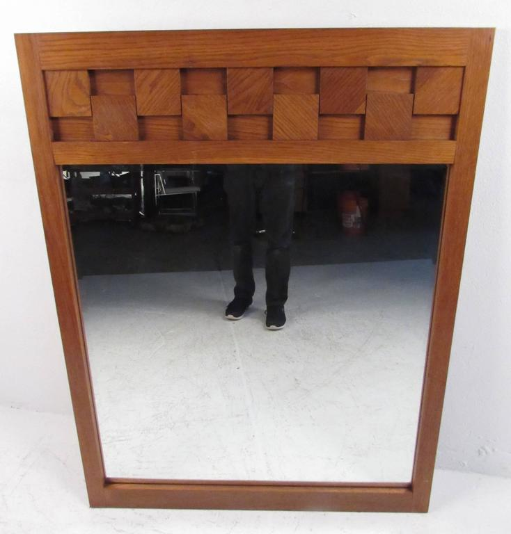 Late 20th Century Lane Brutalist Style Oak Frame Mirror For Sale