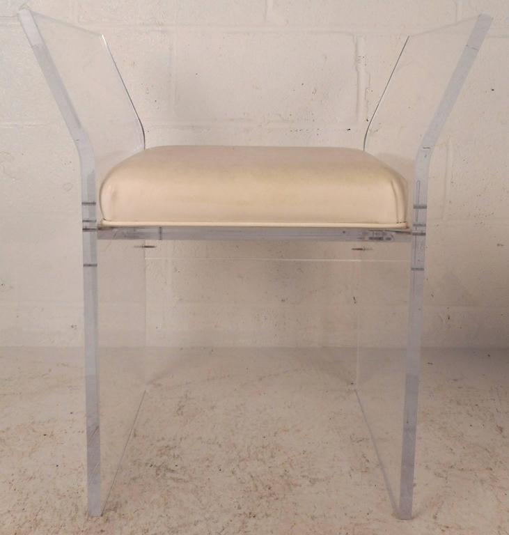 Faux Leather Unique Mid-Century Modern Vinyl and Lucite Bench For Sale