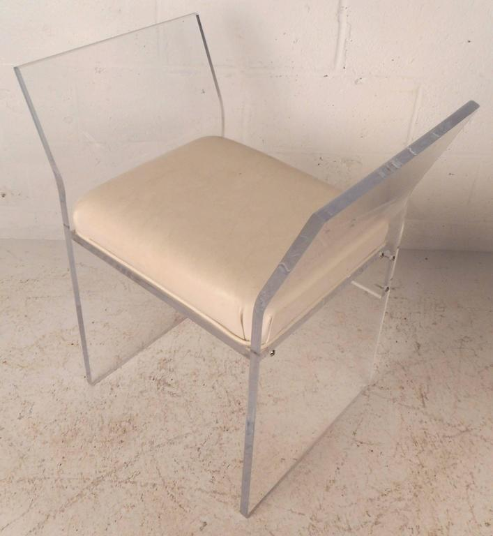 Unique Mid-Century Modern Vinyl and Lucite Bench In Good Condition For Sale In Brooklyn, NY