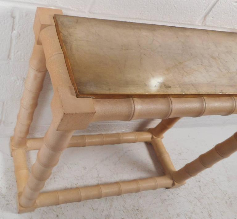 Late 20th Century Mid-Century Modern Faux Bamboo Vanity and Mirror For Sale