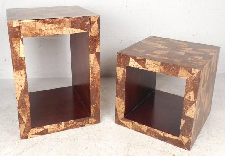 Mid-Century Modern Augousti Style Coconut Shell Inlay End Tables In Good Condition For Sale In Brooklyn, NY