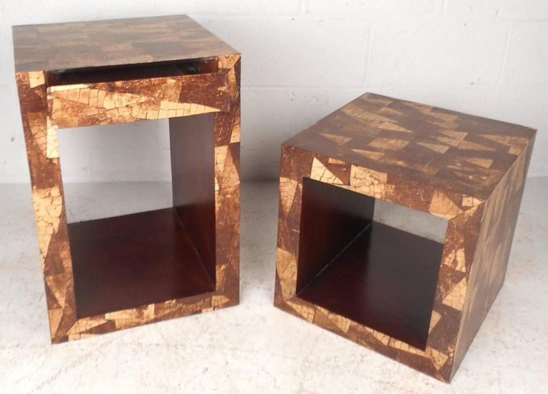 Late 20th Century Mid-Century Modern Augousti Style Coconut Shell Inlay End Tables For Sale