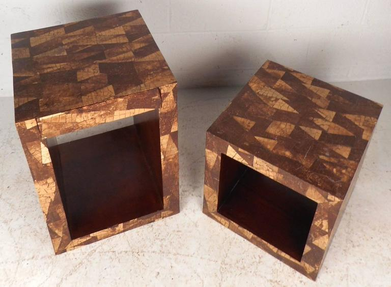 Mid-Century Modern Augousti Style Coconut Shell Inlay End Tables For Sale 1