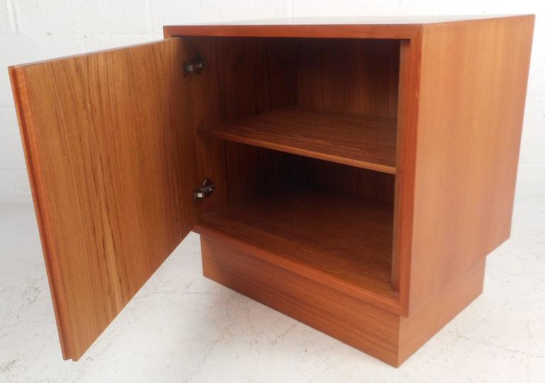 1970s vintage danish modern teak side end table mid for Modern nightstands for sale
