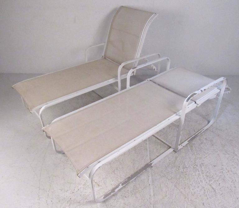Pair Of Aluminum Frame With Nylon Upholstery Outdoor Chaise Longue Chairs  By The Woodard Furniture Co