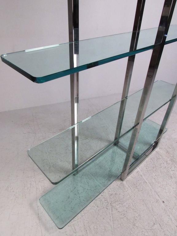 Modern Chrome and Glass Four Shelf Étagère at 1stdibs