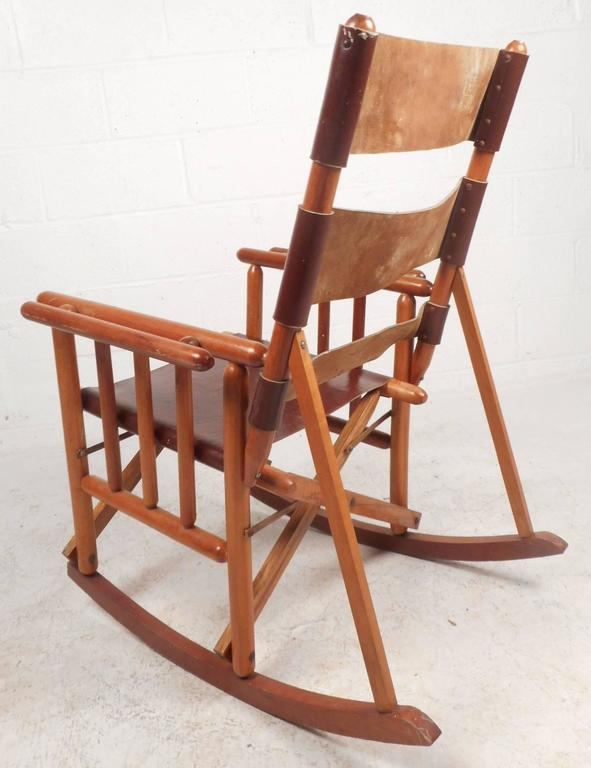 Superb Mid Century Modern Costa Rican Leather Campaign Folding Rocking Chair Creativecarmelina Interior Chair Design Creativecarmelinacom