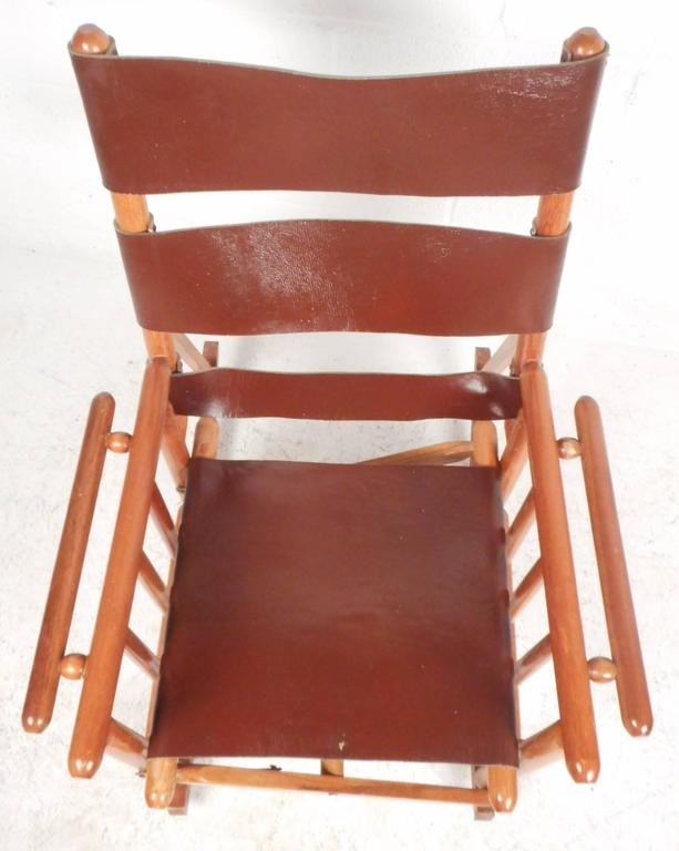 Mid-Century Modern Costa Rican Leather Campaign Folding Rocking Chair For Sale 1