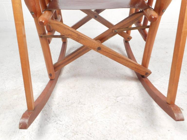 Mid-Century Modern Costa Rican Leather Campaign Folding Rocking Chair For Sale 2
