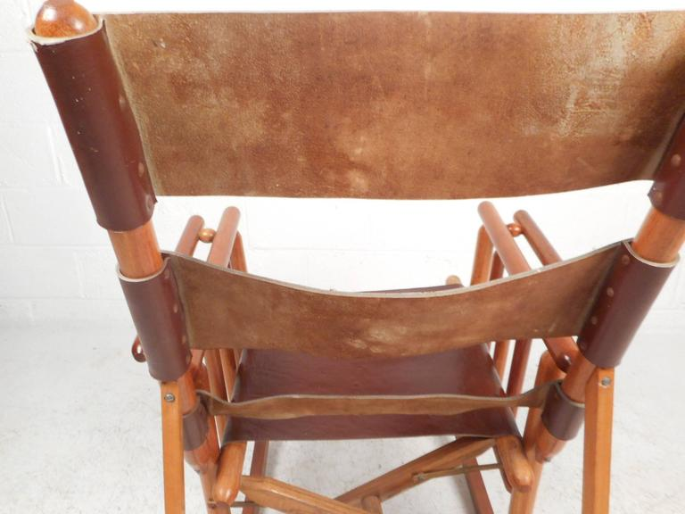 Mid-Century Modern Costa Rican Leather Campaign Folding Rocking Chair For Sale 3