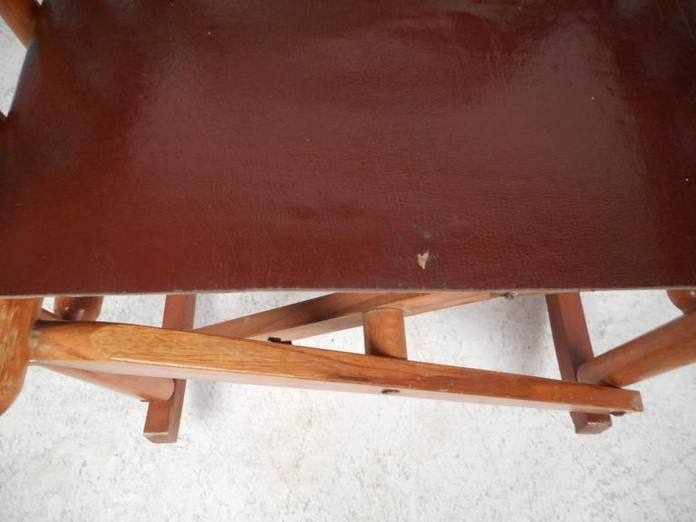 Mid-Century Modern Costa Rican Leather Campaign Folding Rocking Chair For Sale 4