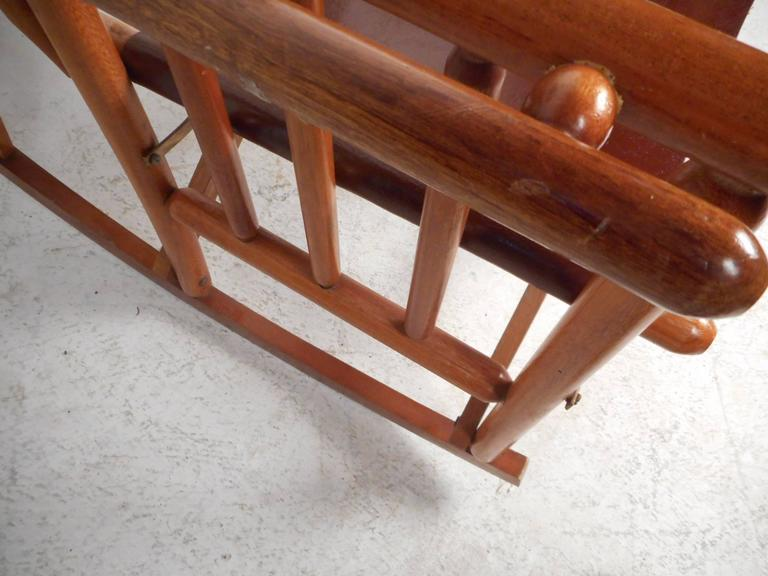 Mid-Century Modern Costa Rican Leather Campaign Folding Rocking Chair For Sale 5