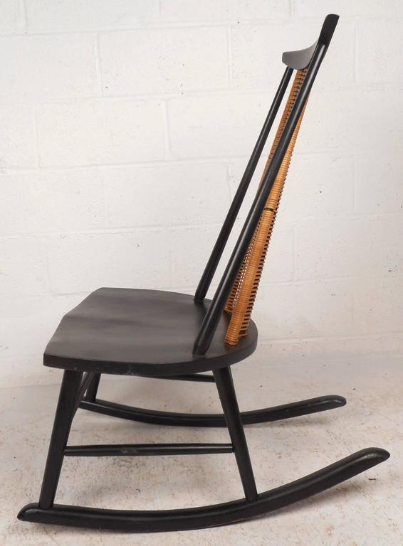 Mid Century Modern Danish Rocking Chair With A Woven Back