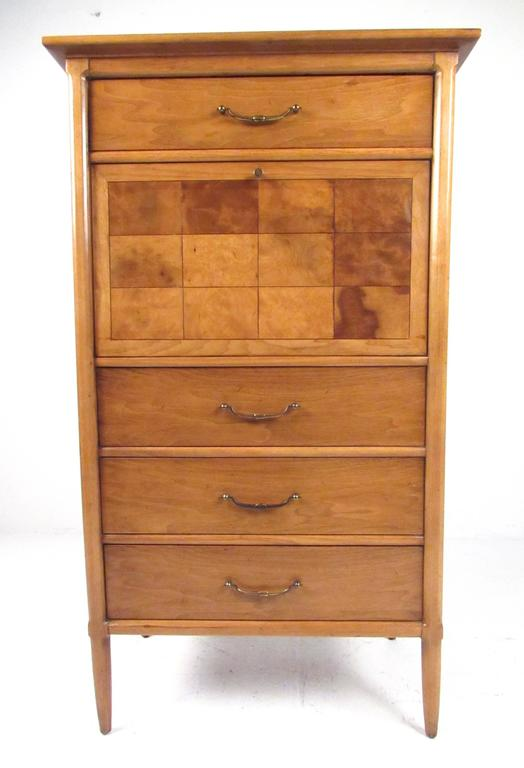 Mid-Century Modern Tall Mid-Century Highboy Drop Front Secretary For Sale