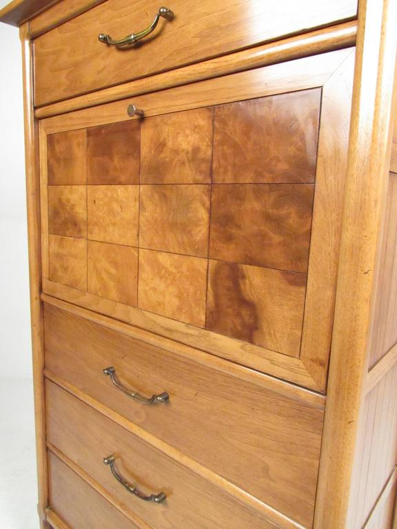American Tall Mid-Century Highboy Drop Front Secretary For Sale