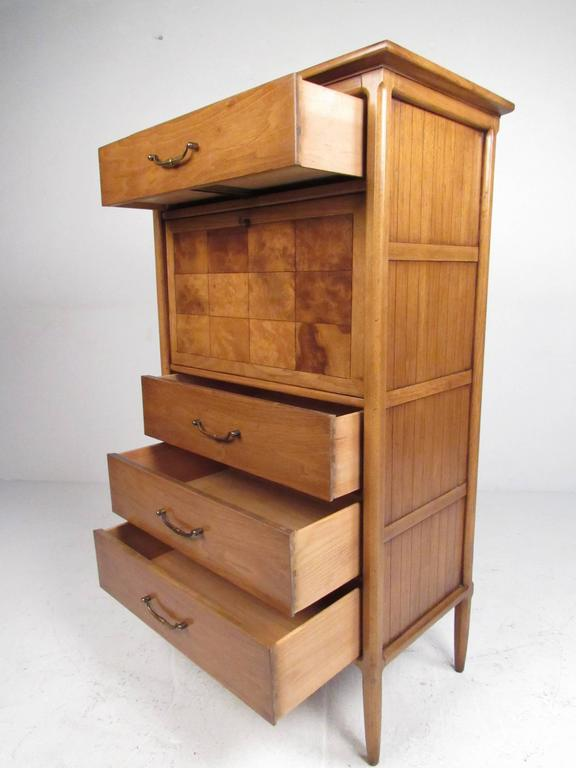 Tall Mid-Century Highboy Drop Front Secretary In Good Condition For Sale In Brooklyn, NY