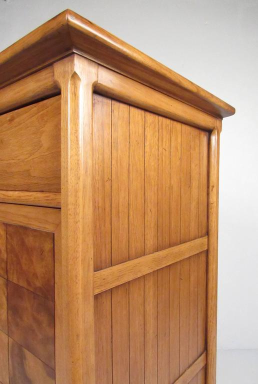 Mid-20th Century Tall Mid-Century Highboy Drop Front Secretary For Sale