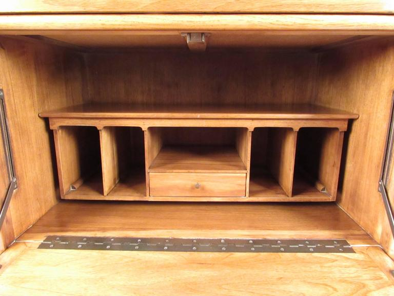 Walnut Tall Mid-Century Highboy Drop Front Secretary For Sale