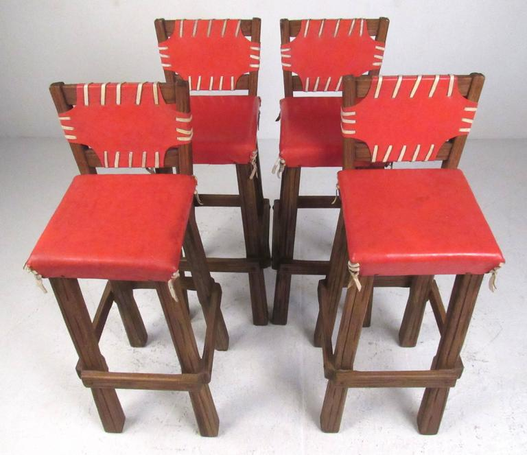 rare set of four brandt ranch oak bar stools for sale at 1stdibs. Black Bedroom Furniture Sets. Home Design Ideas