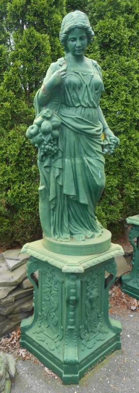Neoclassical Impressive Set of Four Seasons Cast Iron Statues on Pedestal Bases For Sale