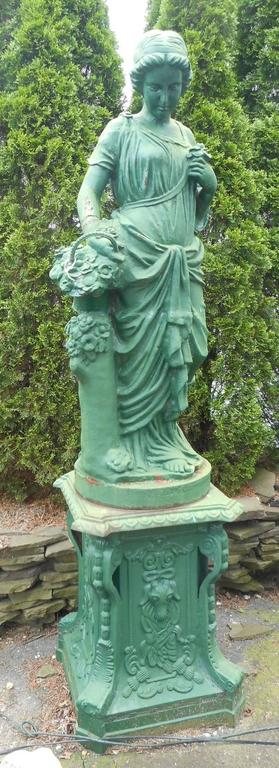 Impressive Set of Four Seasons Cast Iron Statues on Pedestal Bases In Good Condition For Sale In Brooklyn, NY