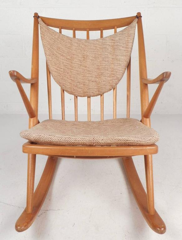 This Beautiful Vintage Modern Rocking Chair Features An Unusual  U0026quot;Xu0026quot; Shaped Frame,