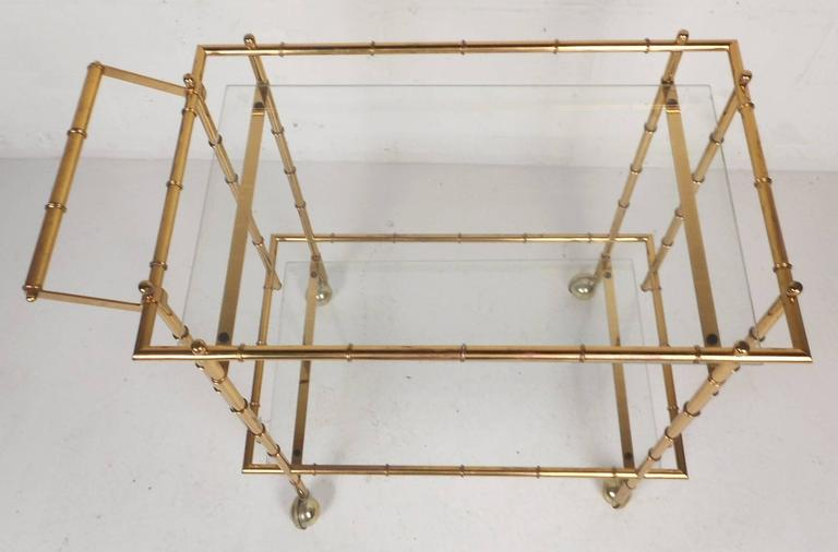Late 20th Century Mid-Century Modern Hollywood Regency Style Brass Faux Bamboo Bar Cart For Sale