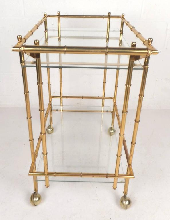 Mid-Century Modern Hollywood Regency Style Brass Faux Bamboo Bar Cart For Sale 1