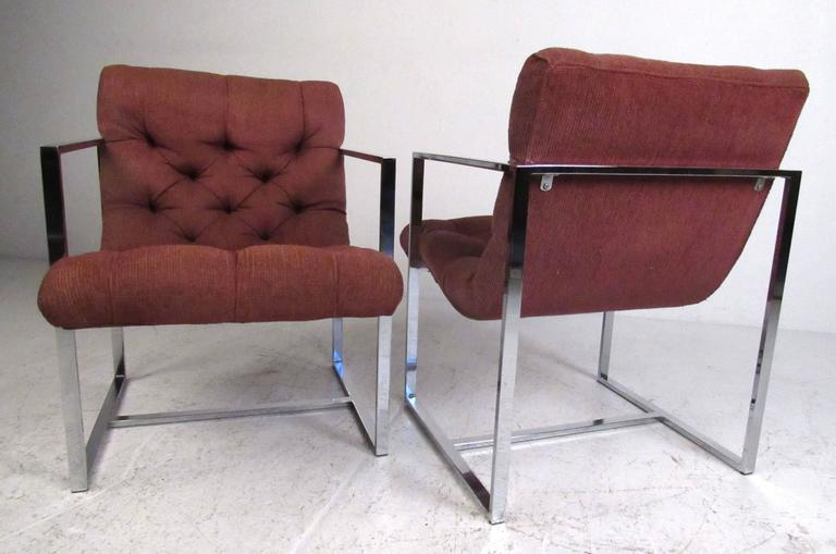 Stylish flat bar chrome frame side chairs with deep tufted upholstery in the manner of Milo Baughman. Very comfortable and attractive in both the home or office setting. Please confirm item location (NY or NJ) with dealer.