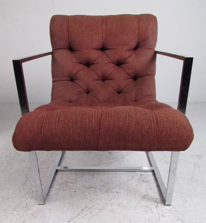 American Pair of Mid-Century Milo Baughman Style Lounge Chairs For Sale