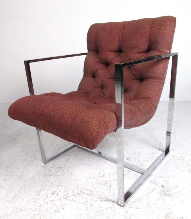 Pair of Mid-Century Milo Baughman Style Lounge Chairs In Good Condition For Sale In Brooklyn, NY